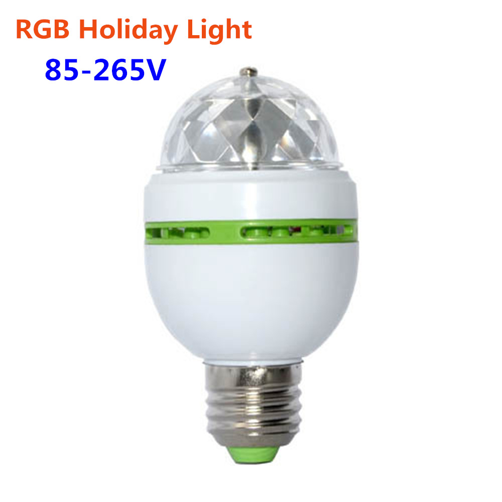 rgb holiday lamp e27 led stage bulb 3w 110v 220v auto rotating christmas party lights ac 85 265v. Black Bedroom Furniture Sets. Home Design Ideas