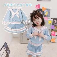 kids fashion girls 2019 girls clothing set sweater & skirt big bow sailor collar blue color sweater with pleated skirt