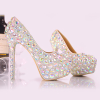 Women Shoes 2018 Discoloration Polychromatic Reflective Glittering Crystal Party Shoes Rhinestone Dress High Heels Large Size