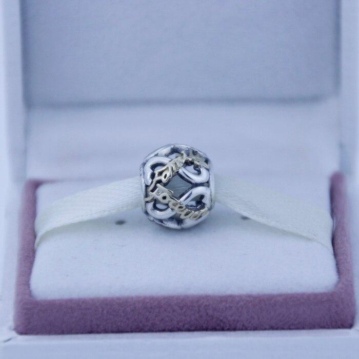 Convient Pandora Bracelet Or Ajouré Infinity Argent Charme Famille Pour Toujours Et cz 925 en argent sterling perles livraison gratuite