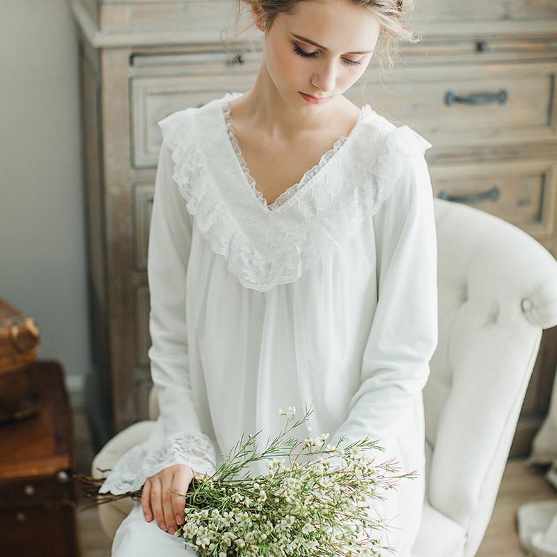 Nouvelle femme sexy à manches longues coton long blanc femmes chemise de nuit chemise de nuit classique palace princesse chemise de nuit robe de nuit