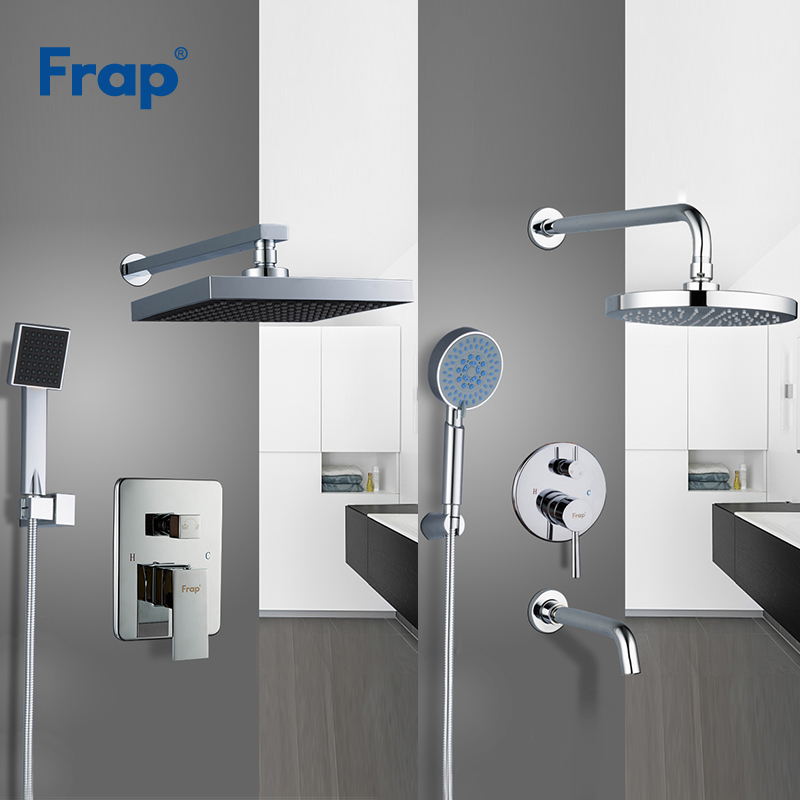 Frap Large Rainfall Shower Faucet Shower Head Bath Shower Mixers with Handshower Polished Wall Mount Shower Arm Y24010/Y24011-in Shower Faucets from Home Improvement    1