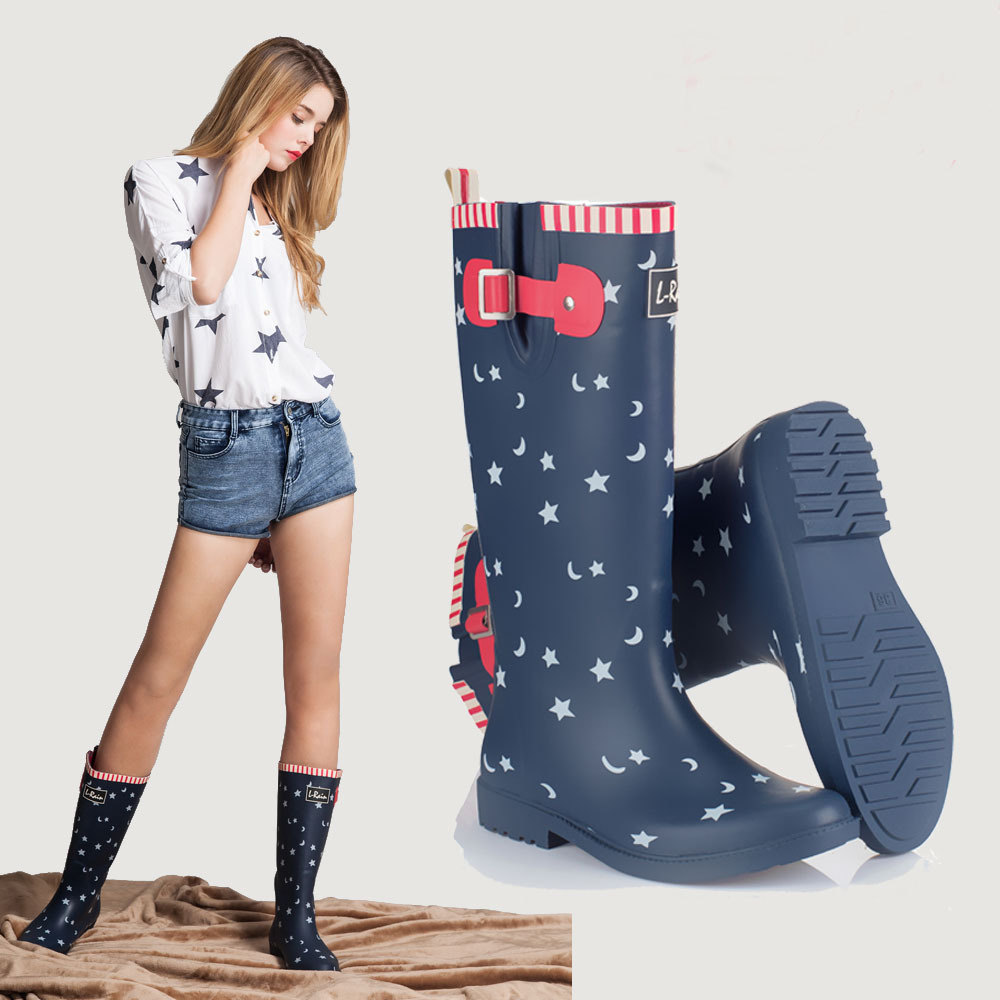 2015 designer lady star and moon printings tall rubber boots women 39 s galoshes rain boots uk in. Black Bedroom Furniture Sets. Home Design Ideas