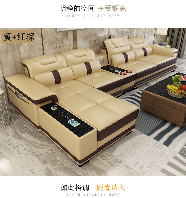 US $1139.05 5% OFF|Living Room Sofa set furniture real genuine leather  sofas recliner salon couch puff asiento muebles de sala canape L sofa  cama-in ...