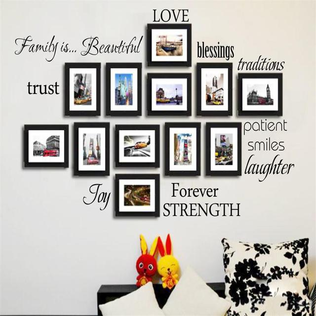 newest DIY warm family rule words Photo Frame decals Love Blessing ...