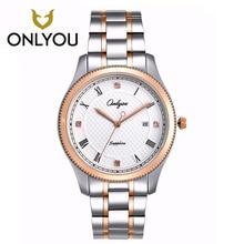 ONLYOU Stainless Steel Pocket Watch Men's Watches Rose Golden Woman Watches 5Bar Waterproof Date Display Quartz Wristwatch
