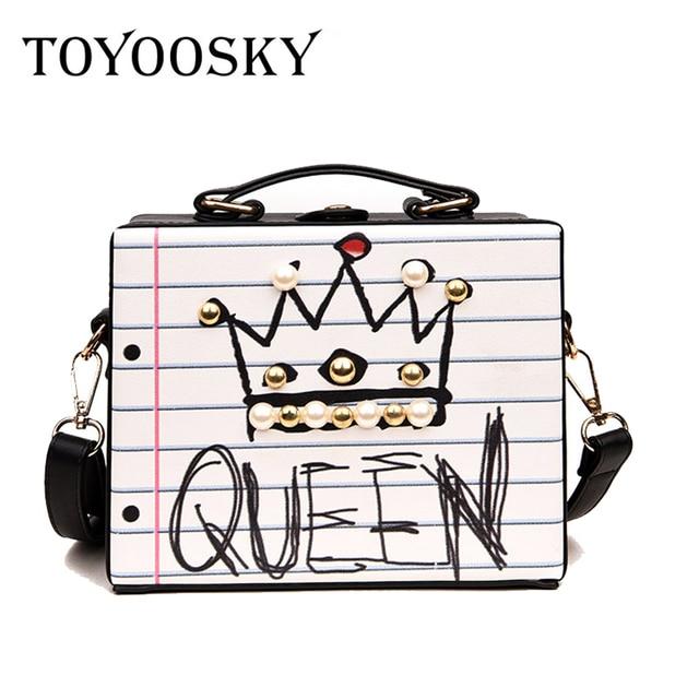 New arrival fashion letter diamonds pearl rivet box shape casual female handbag party purse ladies crossbody messenger bags SAC