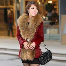 2017 Popular large raccoon fur collar Slim Leather grass Rex wool coat and long sections dignified atmosphere