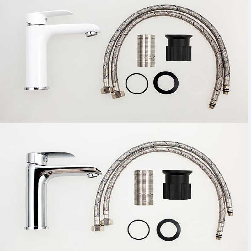 MICOE 浴室の蛇口のミキサー流域タップシンク滝洗面タップ真鍮クローム容器ホットと冷水の洗面器タップ白