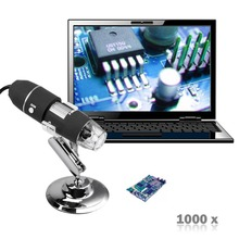 Nueva 1000X 8LED 2MP Microscopio USB Digital Portátil Endoscopio Zoom Cámara de Vídeo Lupa + Soporte