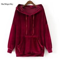 SheMujerSky Women Hoodies Sweatshirts Velvet Black Hoodie Green Red Sweatshirt Pocket moleton feminino inverno