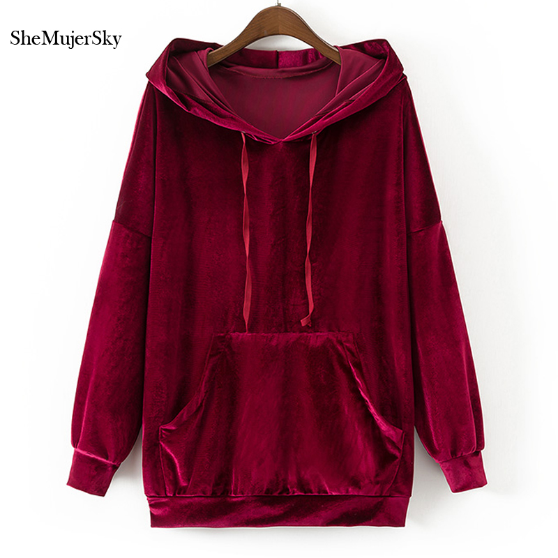 SheMujerSky Women Hoodies Sweatshirts Velvet Black Hoodie Green Red Sweatshirt Pocket moleton feminino inverno