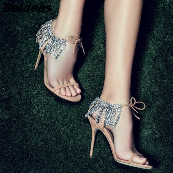 Trendy Crystal High Heel Sandals Women One Belt Glittery String Crystal Ankle Wrap Stiletto Shoes Lace Up Dress Sandals - 2