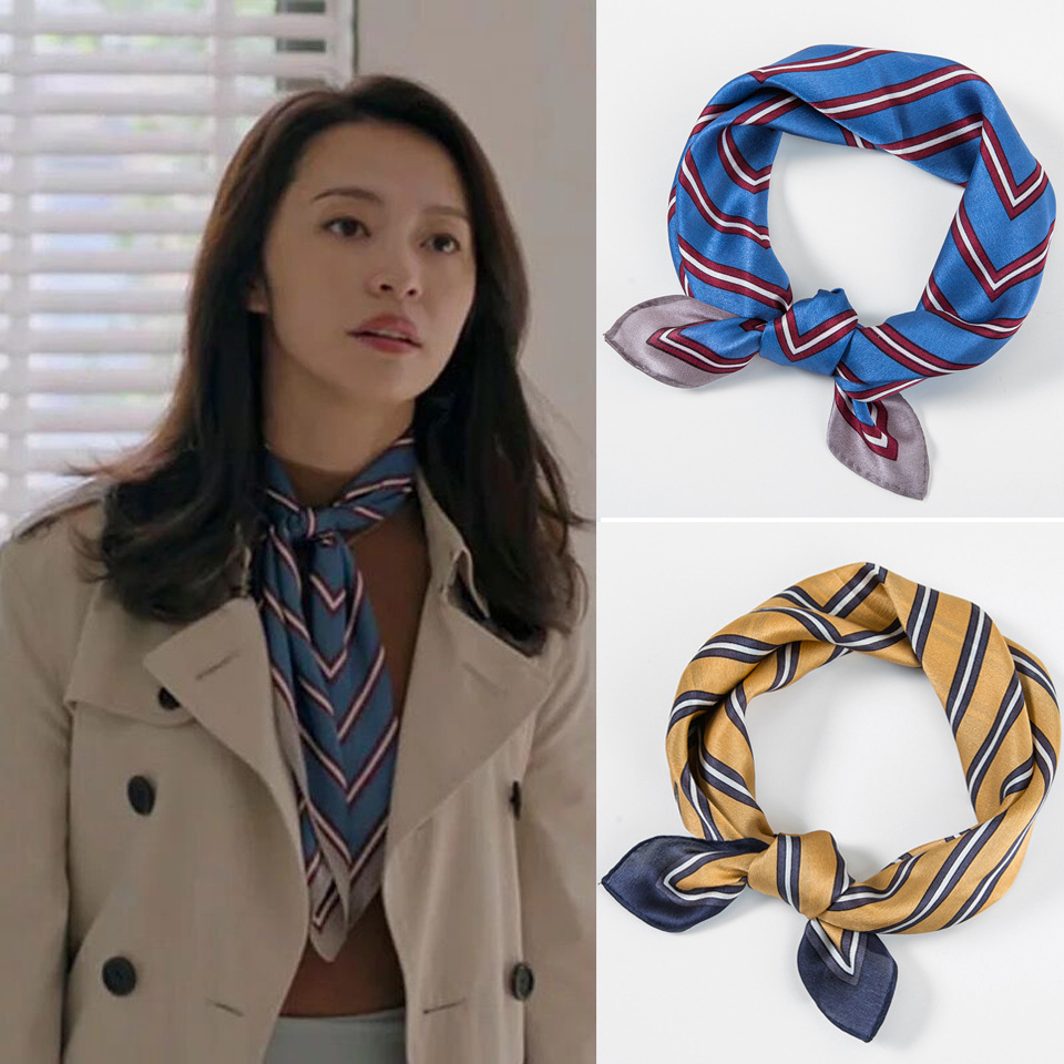 Fashion 53 53cm 100 Silk Stripe Print Square Scarf Women Lady Luxury Multifunctional Small Bandana Scarves Headbands in Women 39 s Scarves from Apparel Accessories