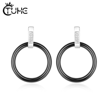 Healthy Ceramic Earrings Fashion Geometric Circle Stud Jewelry Stainless Steel Crystal Accessories Daily Gift
