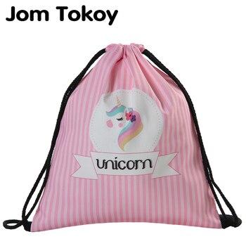 2019 new fashion Women unicorn drawstring Backpack 3D printing travel softback women mochila bag 29042