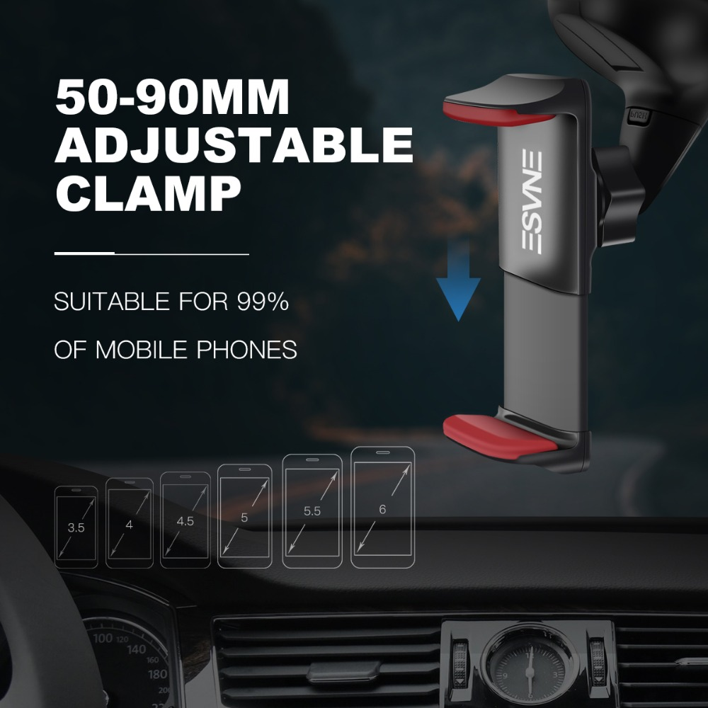 Image 3 - ESVNE Universal Windshield Mount Car Phone Holder for iPhone 8 6 7 X cell Mobile Phone Car Holder stands support cellular phone-in Phone Holders & Stands from Cellphones & Telecommunications