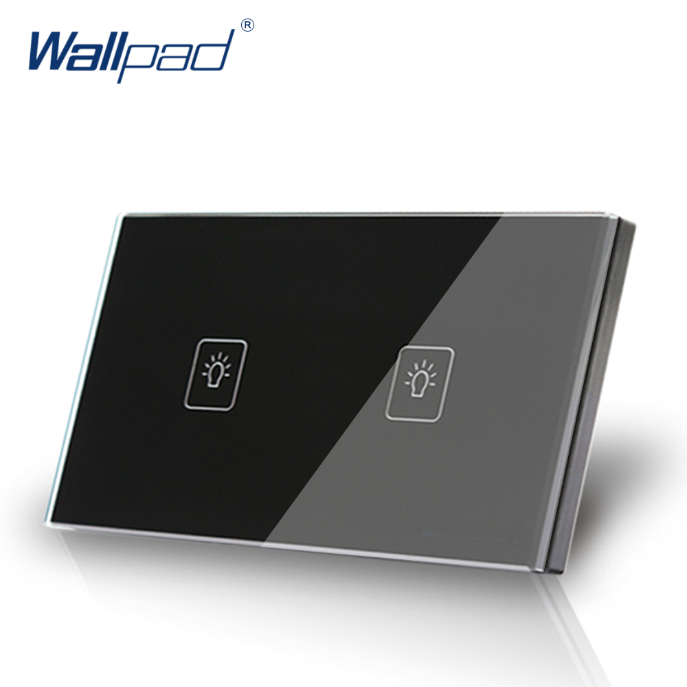 2 Gang 1 Way 118*72mm Wallpad Waterproof Black Glass Touch Switch Panel, LED 110V-250V AU US Size Light Switch, Free Shipping smart home us au wall touch switch white crystal glass panel 1 gang 1 way power light wall touch switch used for led waterproof