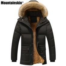 Mountainskin зима Для мужчин куртки из плотного флиса 5XL меховой воротник с капюшоном Для мужчин пальто повседневная куртка мужская верхняя одежда ветрозащитные SA390