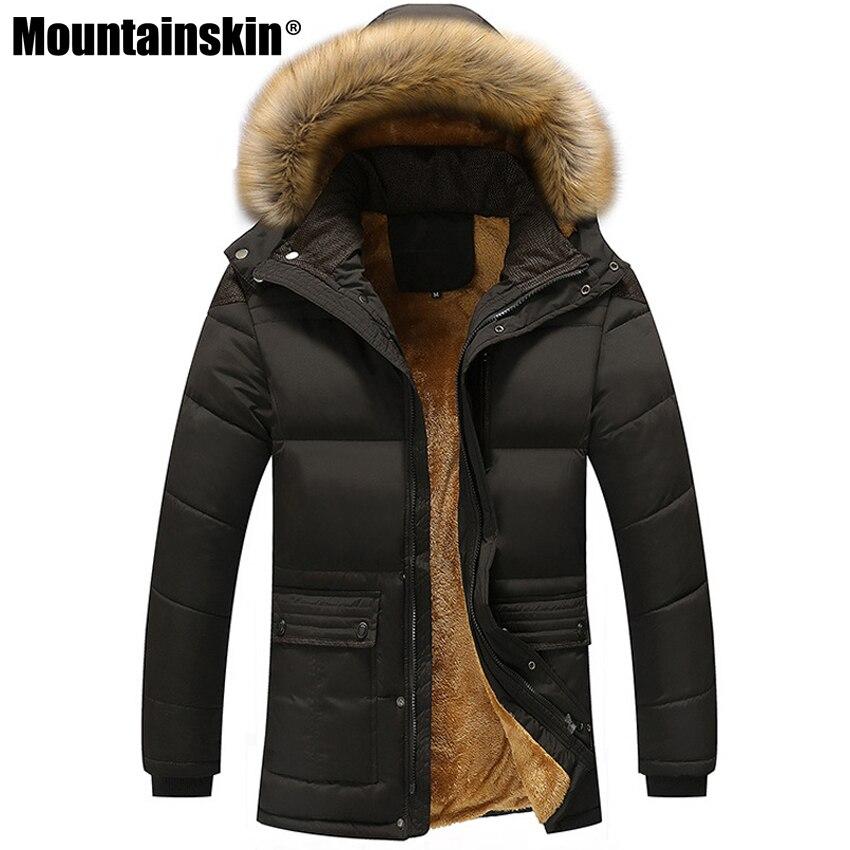 Mountainskin de los hombres de invierno chaquetas de lana gruesa 5XL Collar de piel con capucha de los hombres abrigos chaqueta Casual Hombre Ropa a prueba de viento SA390