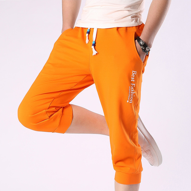 New Brand Clothing Men's Cropped Pants 5XL Casual  Joggers Men 2016 Summer Calf-Length Pant Drawstring Harem Pants For Boy