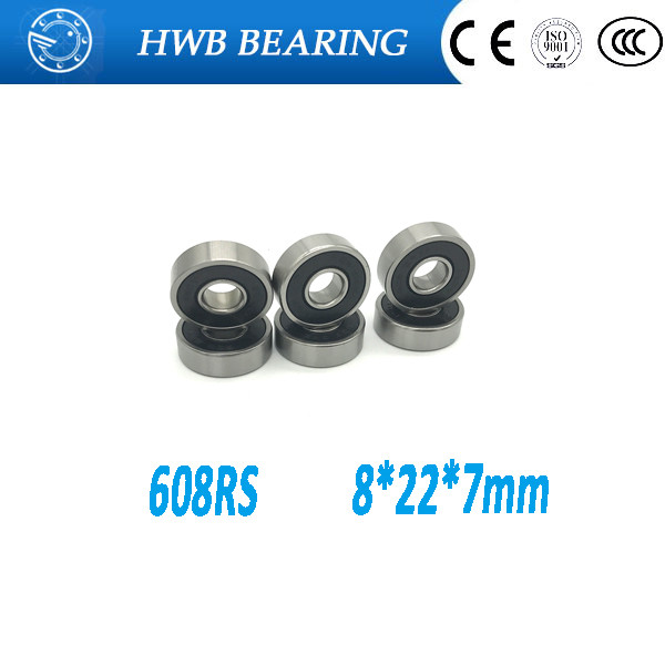 Free shipping 10pcs 608-2RS 608RS 608 2RS ABEC-5 8 x 22 x7mm black double rubber sealing cover deep groove ball bearing 10pcs 608 2rs 608rs 608 2rs abec 9 8mm x 22mm x 7mm red double rubber sealing cover deep groove ball bearing 1733 10