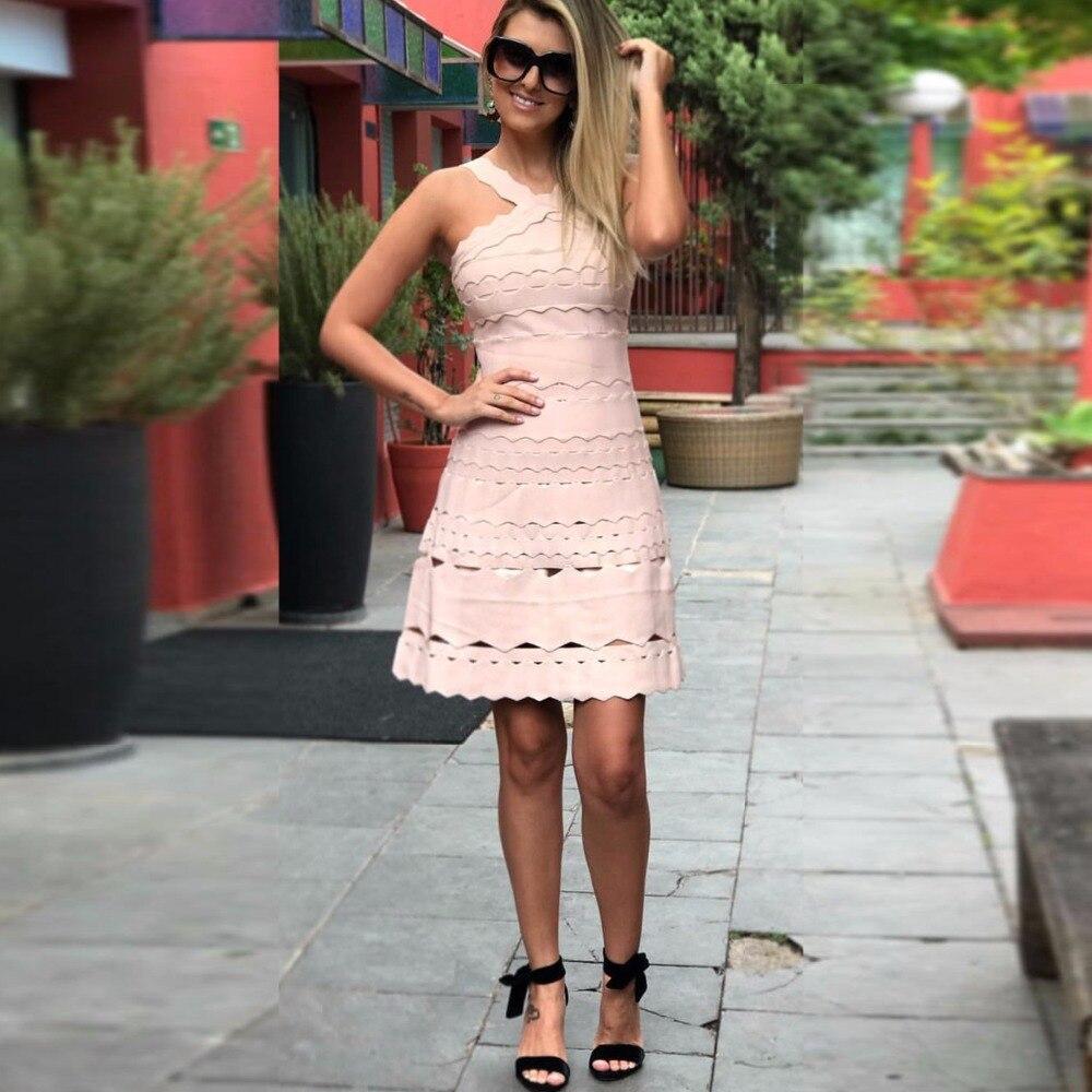 Línea Hollow Blanco Superior Las Vestidos Una Vendaje Mini Damas Vestido Mujeres Sexy 2017 Rayón De Calidad Out Partido 4H16xwSX1q