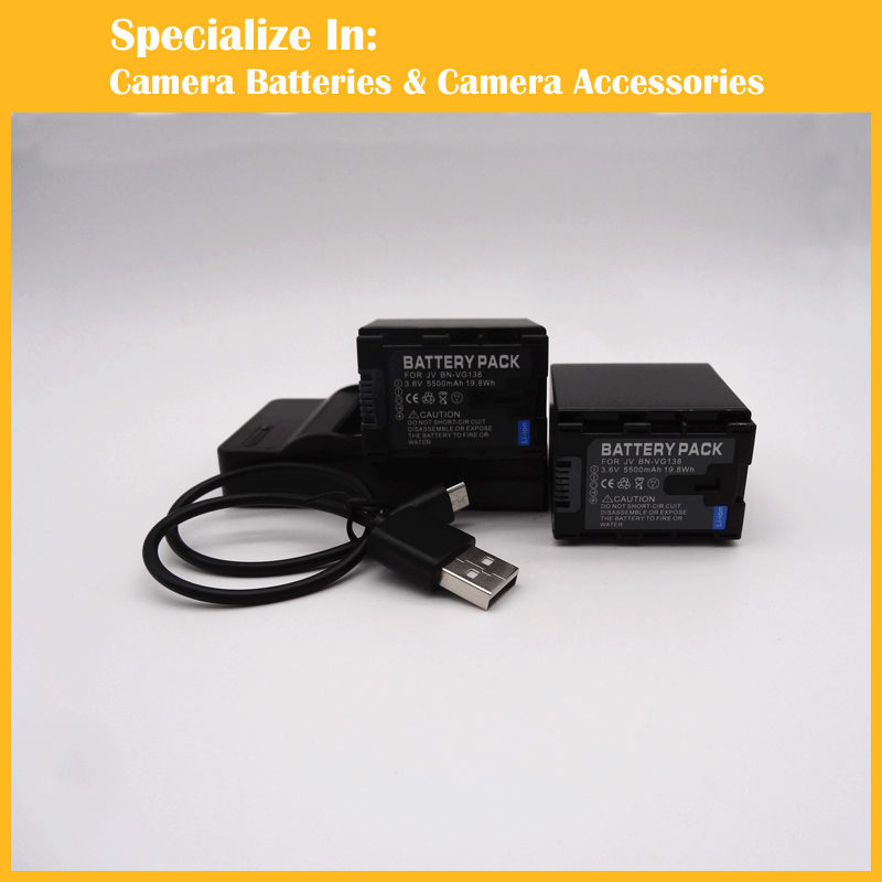 BN VG138 For JVC font b Camcorder b font Replacement Li ion 2pcs Battery charger set
