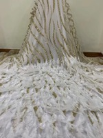 Latest African Artificial feather lace French net lace Mesh with Beads Applique lace Fabrics for Nigerian Wedding Dress NX988z