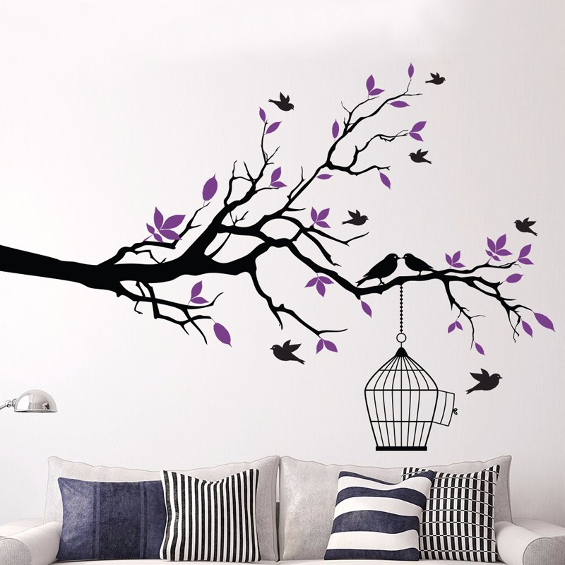 Tree Branch With Bird Cage Vinyl Wall Art Birds Sticker Wall