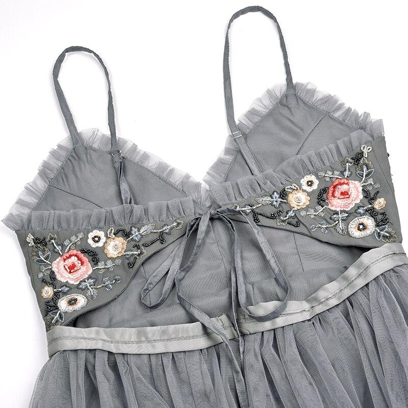 Sexy Robe Femmes Robes Plissée Floral Bretelles Vintage 2018 Piste Broderie Midi Maille D'été gAZxpqn