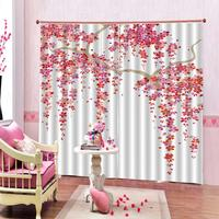 pink flower curtains for living room bedroom office home Flowers print Polyester Set with Hooks
