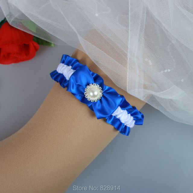 201ca099861 Original Design Blue Ribbon Wedding Garter Belt With Imitation Pearl Bead  Bridal Leg Garter Belt Handmade HY048