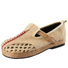 Pure manual weaving linen summer national wind cloth shoes hollow out breathable flat Casual woman shoes single zapatos mujer