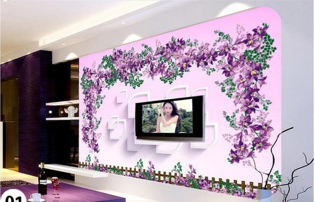 Home Decoration 3D Stereoscopic TV Backdrop Artistic Creativity Flower Vine  Design 3d Wall Murals Wallpaper