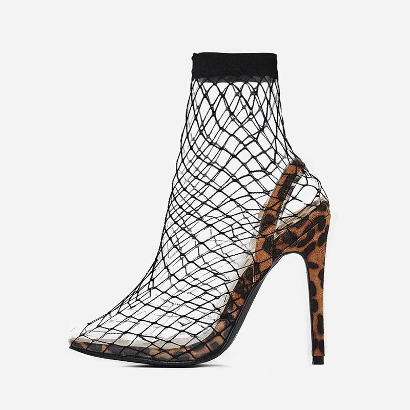 A-BUYBEA Women Mesh Holes Sandals 5 colors Pointed Toe Sexy Summer Shoes Breathable Cool Spring OL Party High Heel Anckle Boots