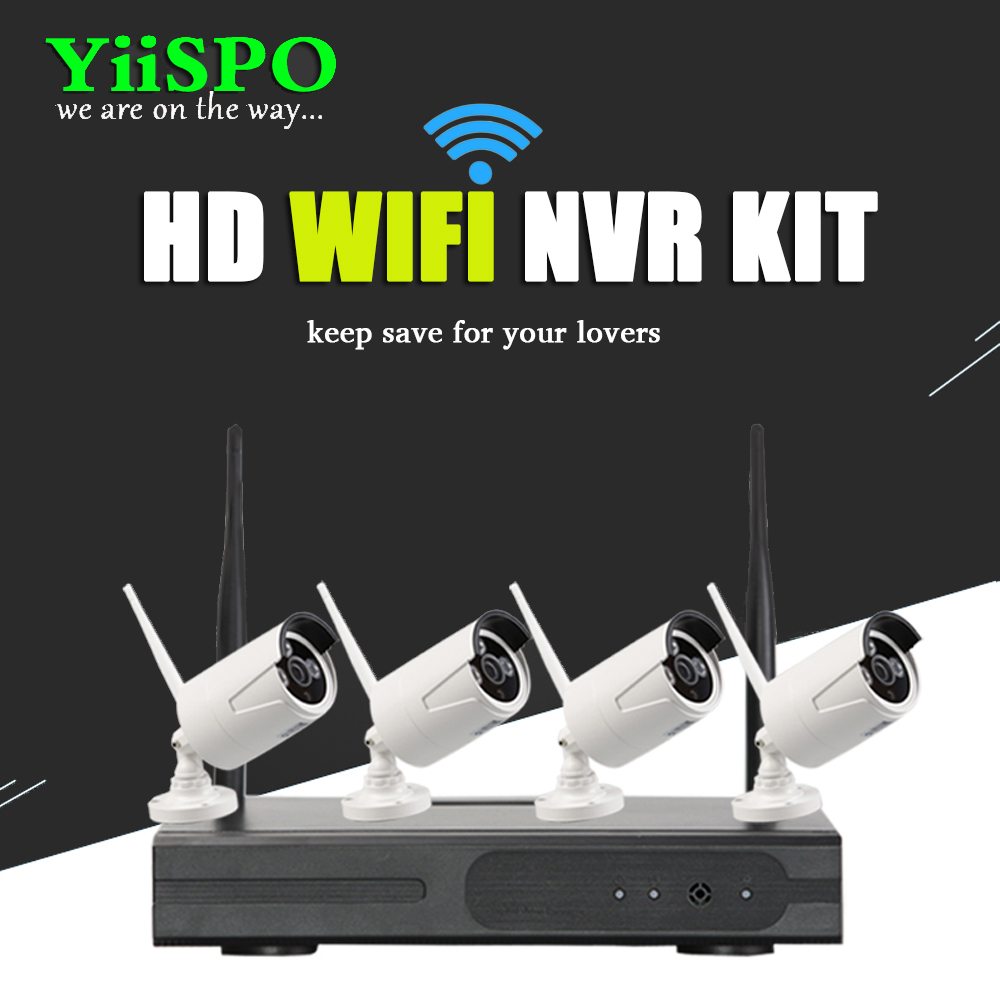 YiiSPO 4CH Wireless NVR CCTV System 720P IP Camera WIFI Weatherproof IR Night Vison Home Security Camera Surveillance Kit