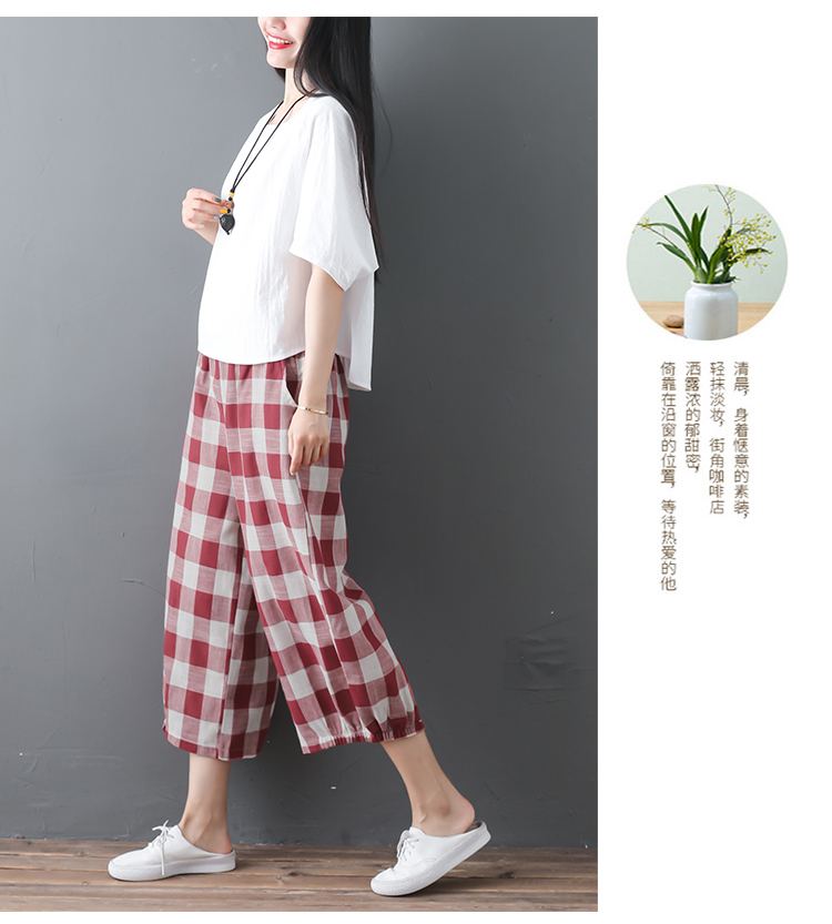 2019 Cotton Linen Two Piece Sets Women Plus Size Half Sleeve Tops And Wide Leg Cropped Pants Casual Vintage Women's Sets Suits 58