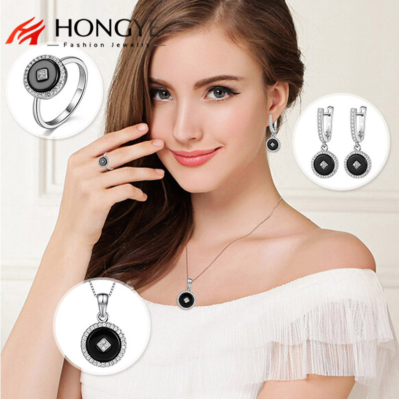 HONGYE High Quality Black White Round Jewelry Sets Indian Africain Beads 925 Silver Necklace Earrings Rings Women Friend Gift oysters indian v black white