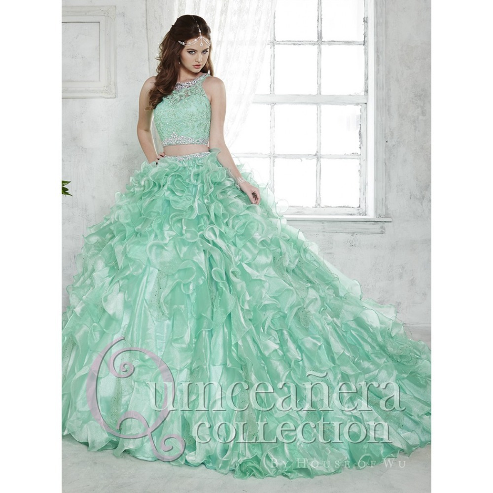 503d34a3b5e 2015 Two Piece Quinceanera Dress Ball Gown Crystal Beaded Lace Ruffled  Detachable Train Green 15 year girl Quinceanera Gown-in Quinceanera Dresses  from ...
