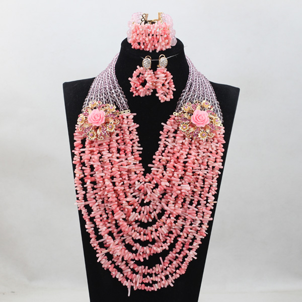 Fashion Baby Pink Coral Beads Jewelry sets Nigerian African Wedding Bridal/Women Beads Necklace Jewelry Set Free Shipping CJ838 african wedding beads necklace green coral nigerian bridal jewelry sets trendy coral fashion jewelry set free shipping abk079