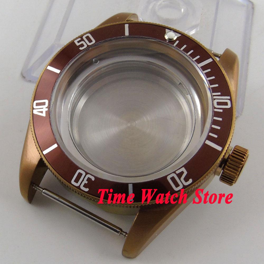 Boîtier de montre en verre saphir 41mm 20ATM café PVD pour mouvement ETA 2836 miborough avec cadran et aiguilles à café C103-in Montre Visages from Montres    2