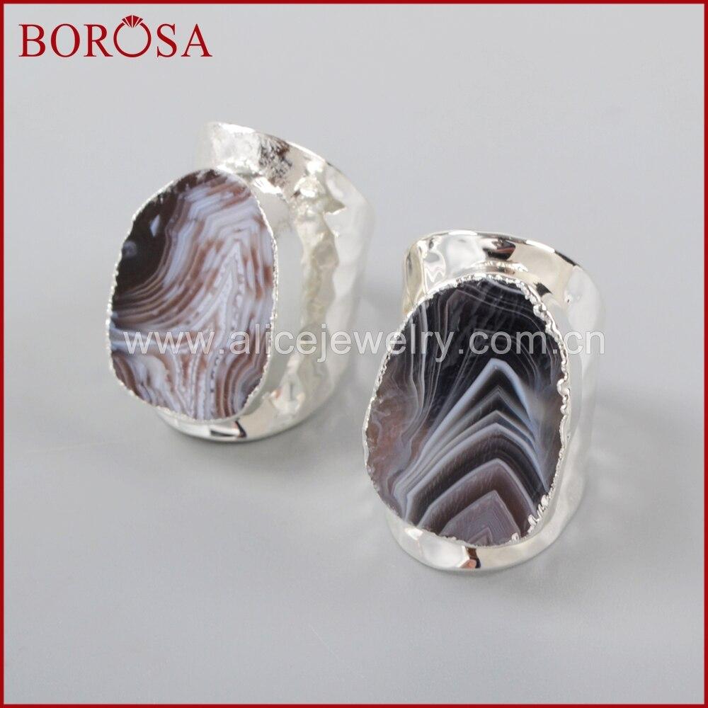 Gemstone Sterling Silver Plated Bulk Rings Druzy Moonstone Onyx Boho Antique