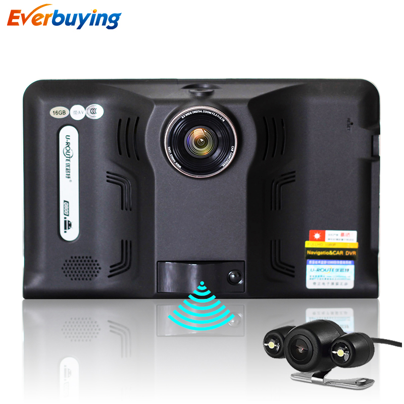 New 7 inch Android Car DVR GPS Radar Dash Camera Video Recorder 16GB with Rear view