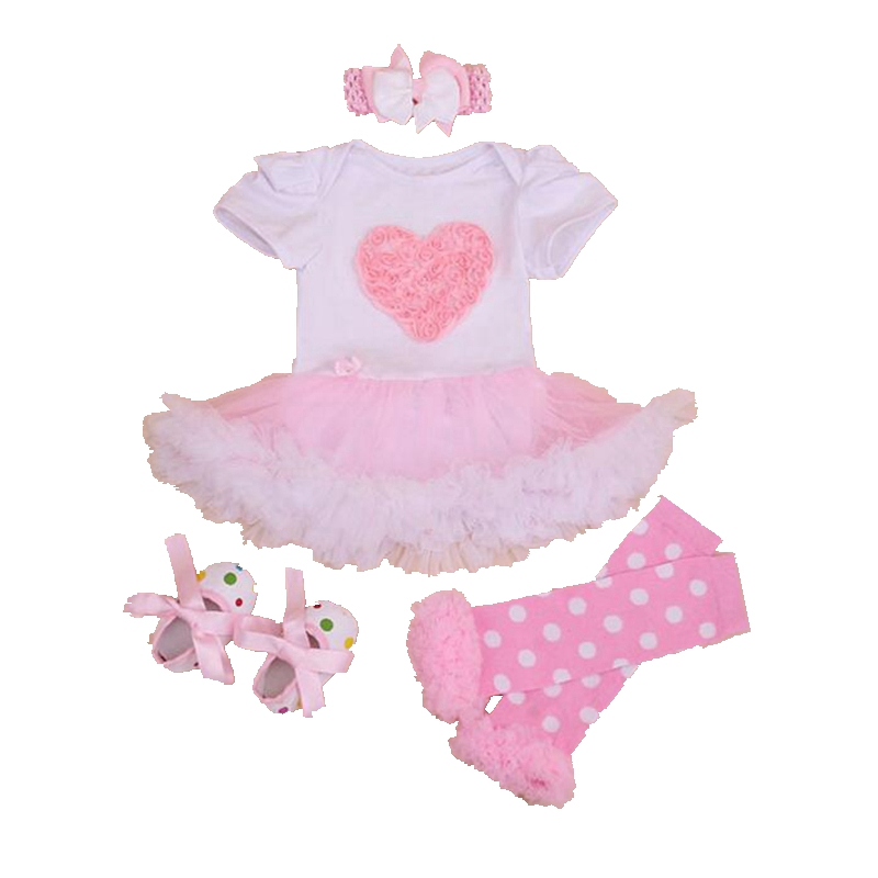 Pink Love White Romper Dress Fashionable Baby Clothes Romper Dress Legwarmers Crib Shoes Headband New Born Toddler Girl Clothing