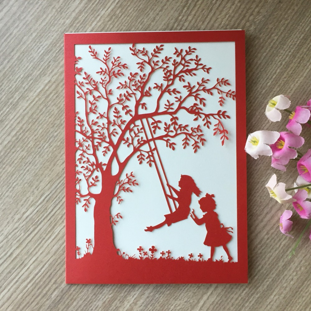 100pcs Pretty Design Elegant Hollow Swing Pattern Wedding Invitation ...