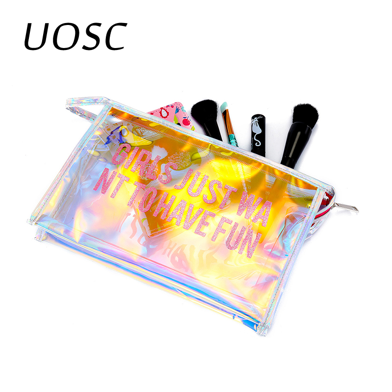 UOSC Portable Laser Cosmetics Bag Letter Transparent Simple Make Up Handheld Cosmetic Travel Bag Clear Pouch Makeup Organizer