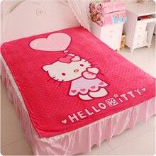 Hello Kitty Одеяло для Взрослых/Дети Плюшевые Флис Одеяло Kawaii Кровать Бросить Одеяло на Кровать/Диван/автомобиль, королева Размер 200*150 см