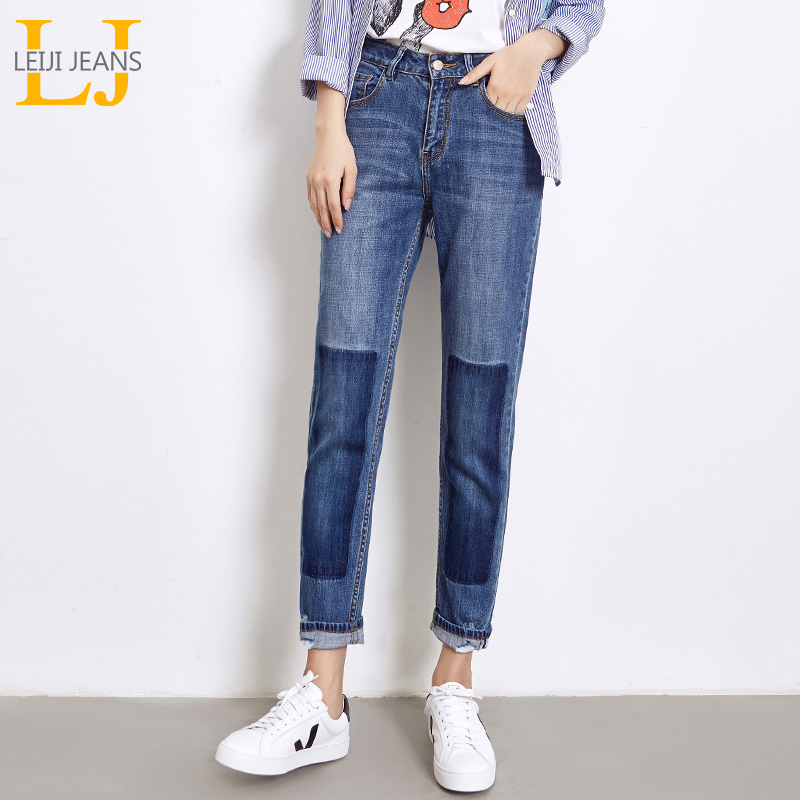LEIJIJEANS 2019 Spring Plus Size Featured Ripped Bleached Panelled Washed Mid Waist Full Length Loose Straight Women   Jeans   5996