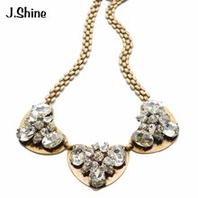 JShine Gold Color Chain Brand Jewelry Choker Heart Glass Necklace Women Colar Choker Necklace Wedding Jewelry Bijoux Femme(China)